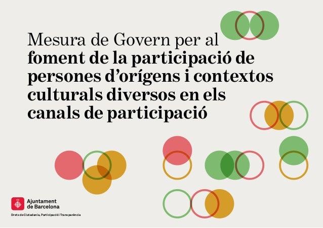Drets de Ciutadania, Participació i Transparència Mesura de Govern per al foment de la participació de persones d'orígens ...