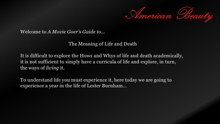 Guide to American Beauty (Life and Death)