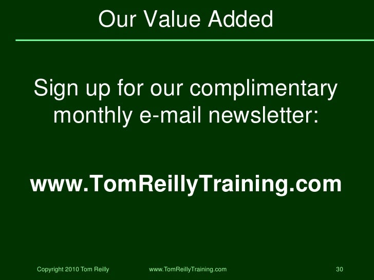tom reilly value added selling pdf