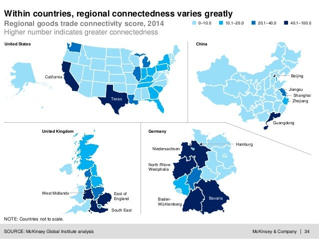McKinsey & Company | 34 Within countries, regional connectedness varies greatly Regional goods trade connectivity score, 2...