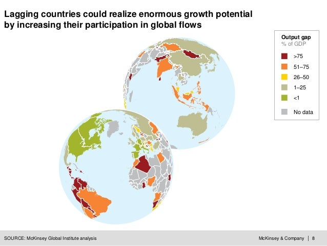 McKinsey & Company | 8 Lagging countries could realize enormous growth potential by increasing their participation in glob...
