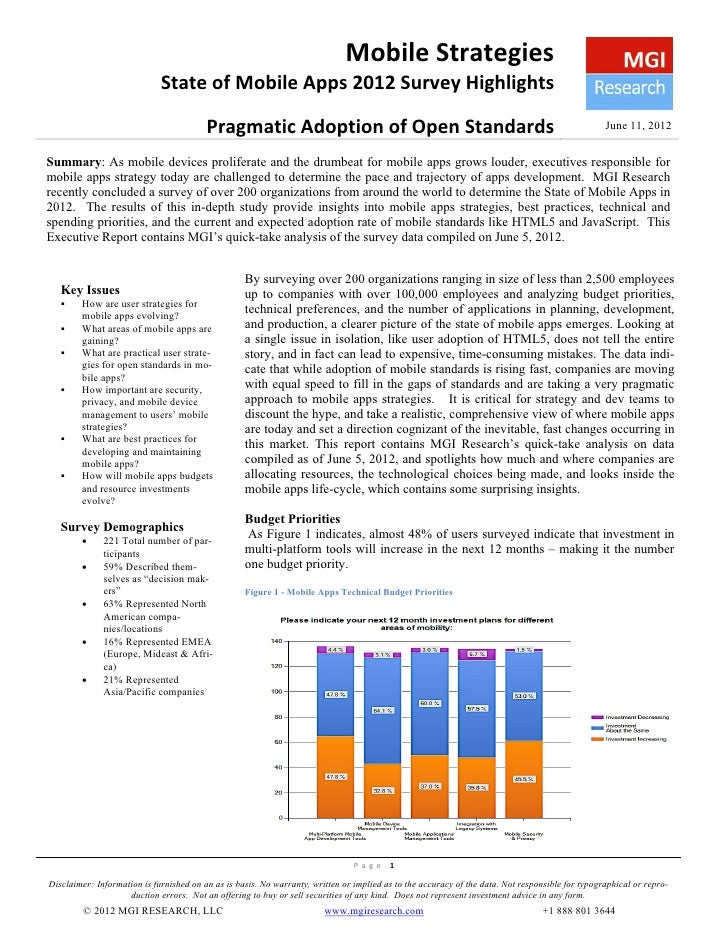Mobile Strategies                             State of Mobile Apps 2012 Survey Highlights                                 ...