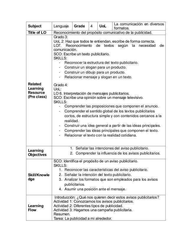 Subject Lenguaje Grade 4 UoL La comunicación en diversos formatos. Title of LO Reconocimiento del propósito comunicativo d...