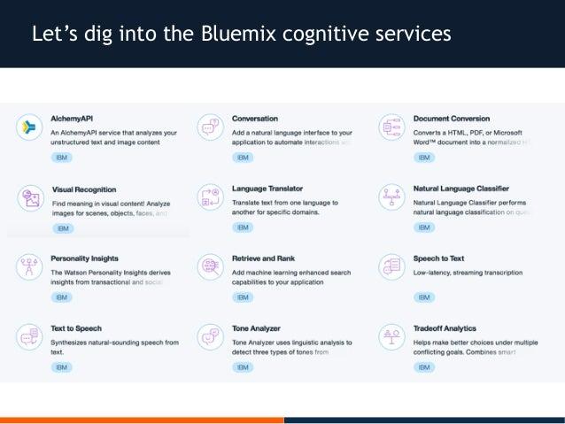 Let's dig into the Bluemix cognitive services