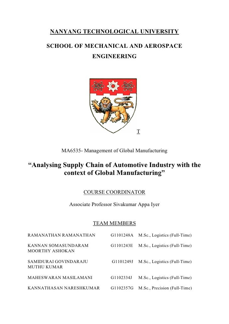 NANYANG TECHNOLOGICAL UNIVERSITY      SCHOOL OF MECHANICAL AND AEROSPACE                        ENGINEERING               ...