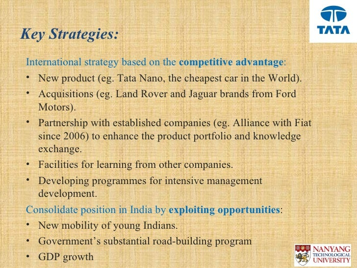 tata motors international business strategy Suitable for mba, emba, and executive education programs, this case uses tata motors' move to acquire jaguar land rover (jlr) from ford to analyze a growth-through-acquisition strategy.