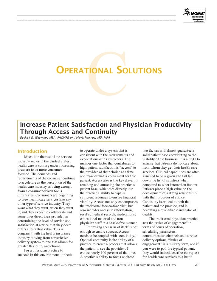 OPERATIONAL SOLUTIONS                                                    C Increase Patient Satisfaction and Physician Pro...