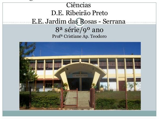 Ciências D.E. Ribeirão Preto E.E. Jardim das Rosas - Serrana 8ª série/9º ano Profª Cristiane Ap. Teodoro