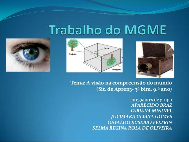 Tema: A visão na compreensão do mundo (Sit. de Apren3- 3º bim. 9.º ano) Integrantes de grupo APARECIDO BRAZ FABIANA MININE...