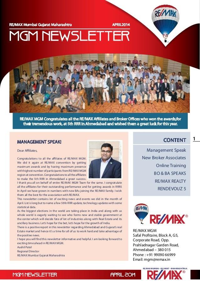 mgm newsletter April 2014 1 RE/MAX Mumbai –Gujarat – Maharashtraa RE/MAX Mumbai –Gujarat – Maharashtraa RE/MAX MGM Safal P...