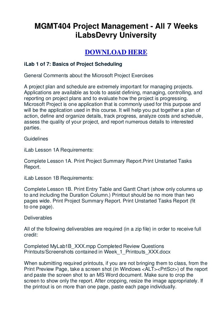MGMT404 Project Management - All 7 Weeks              iLabsDevry University                             DOWNLOAD HEREiLab ...