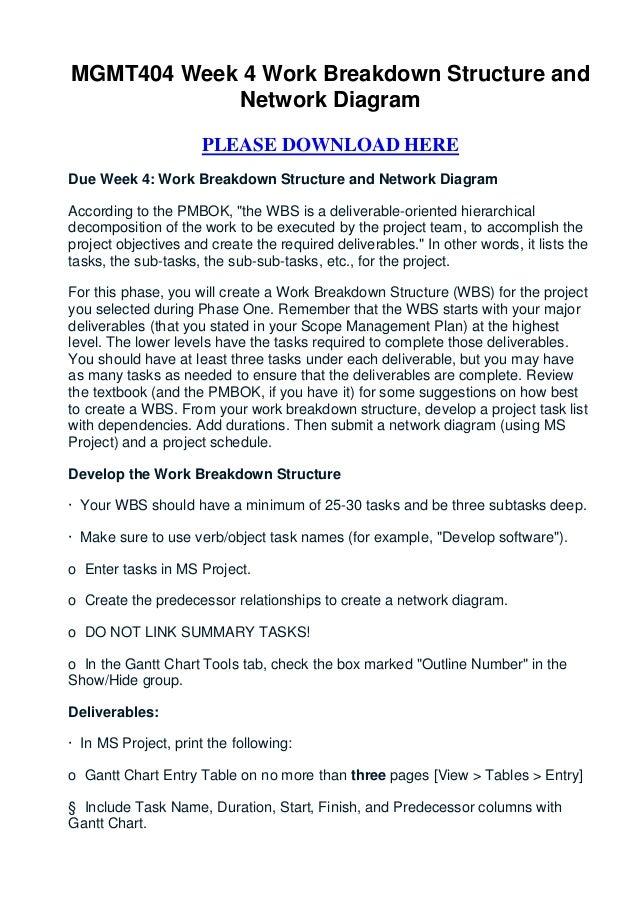 MGMT404 Week 4 Work Breakdown Structure and            Network Diagram                      PLEASE DOWNLOAD HEREDue Week 4...