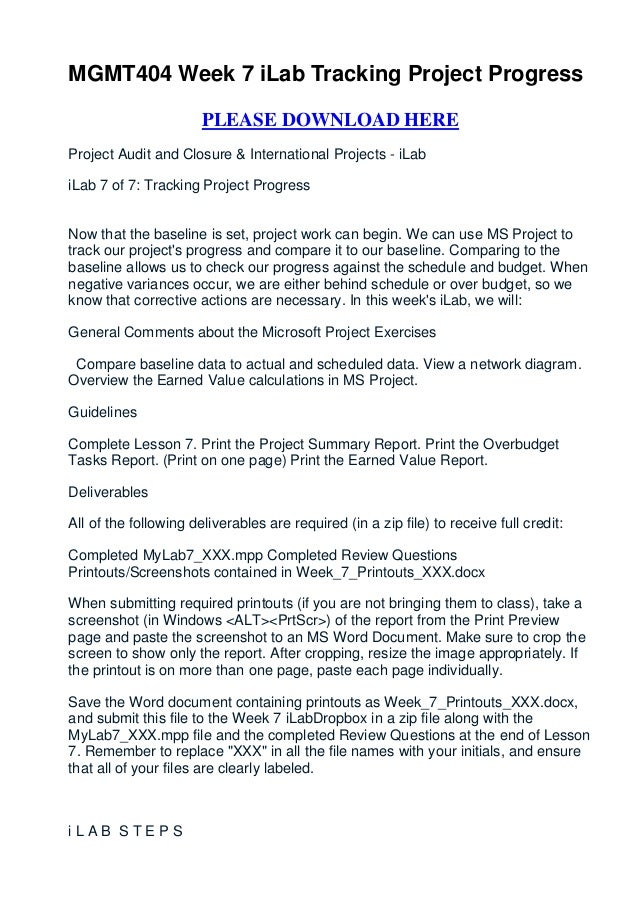 MGMT404 Week 7 iLab Tracking Project Progress                       PLEASE DOWNLOAD HEREProject Audit and Closure & Intern...