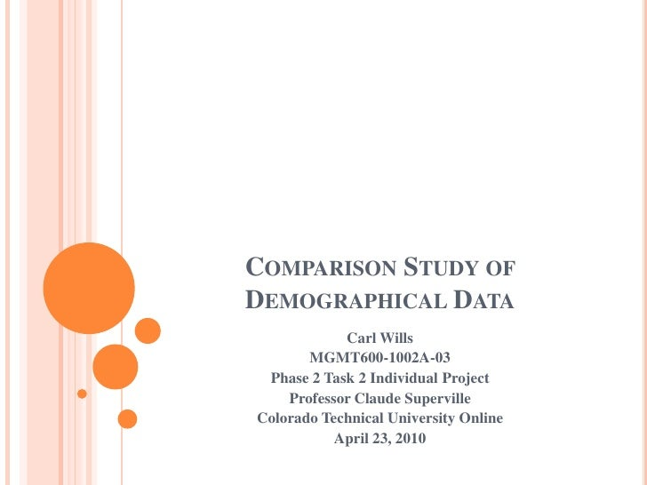 Comparison Study of Demographical Data<br />Carl Wills<br />MGMT600-1002A-03<br />Phase 2 Task 2 Individual Project<br />P...