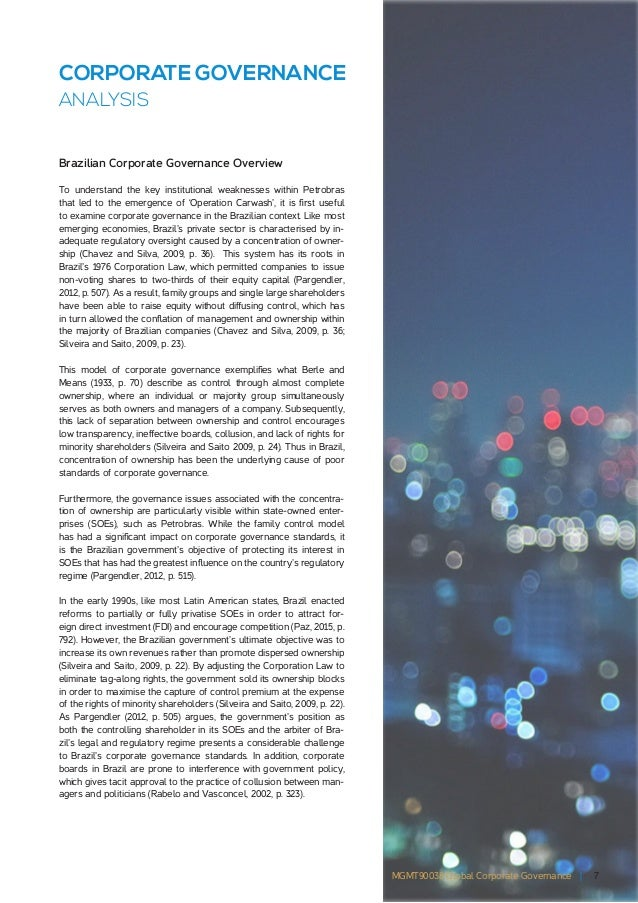 corporate governance analysis Corporate governance is the relationship between corporate managers, directors  and the capital providers, who save and invest their capital to earn money in.