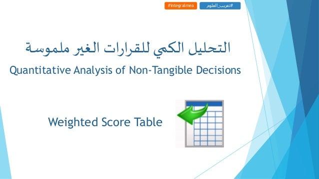 Weighted Score Table #integralmea #تعريب_العلوم Quantitative Analysis of Non-Tangible Decisions ملموسة الغيراتر...