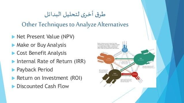 البدائللتحليل ىأخرقطر Other Techniquesto AnalyzeAlternatives  Net Present Value (NPV)  Make or Buy Analysis ...