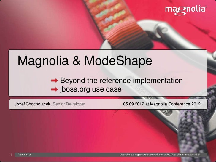 Magnolia & ModeShape                          Beyond the reference implementation                          jboss.org use c...