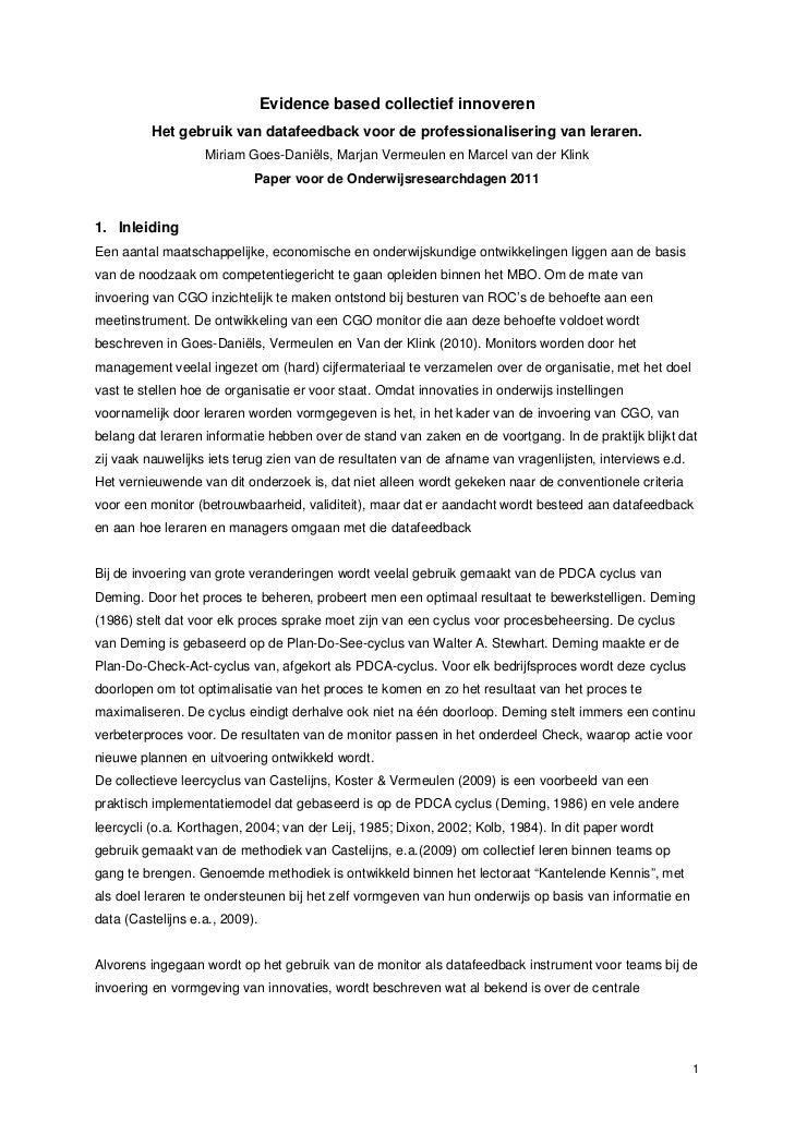 Evidence based collectief innoveren          Het gebruik van datafeedback voor de professionalisering van leraren.        ...