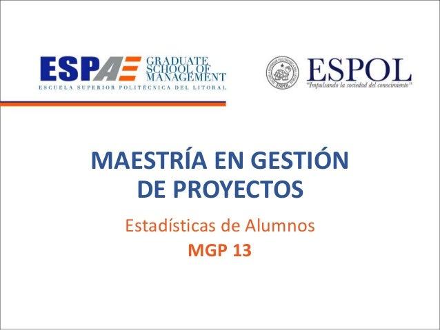 MAESTRÍA EN GESTIÓN DE PROYECTOS Estadísticas de Alumnos MGP 13