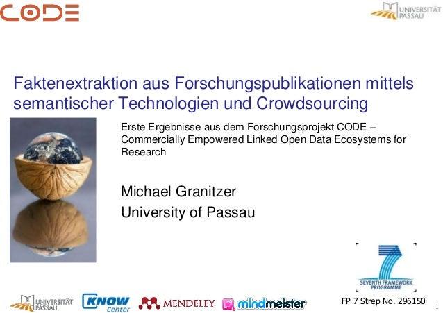 Faktenextraktion aus Forschungspublikationen mittelssemantischer Technologien und Crowdsourcing             Erste Ergebnis...