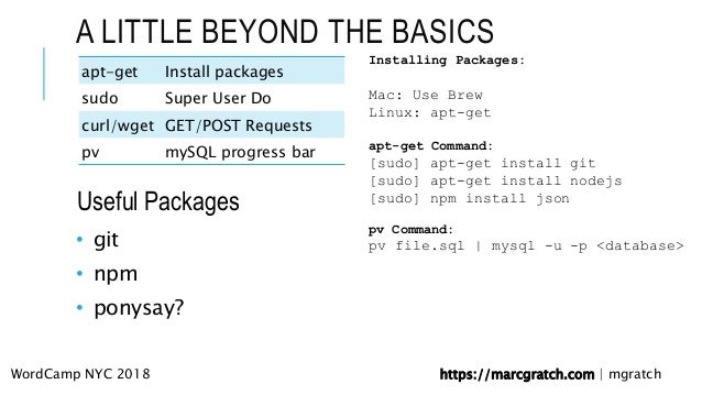 Using the Command Line: Bash and WP-CLI | NYC | 2018