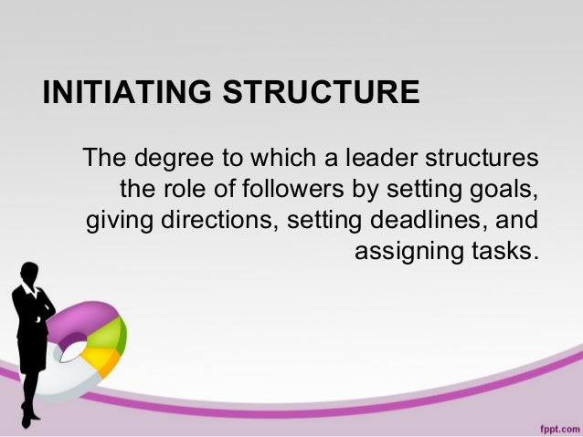 INITIATING STRUCTURE The degree to which a leader structures the role of followers by setting goals, giving directions, se...