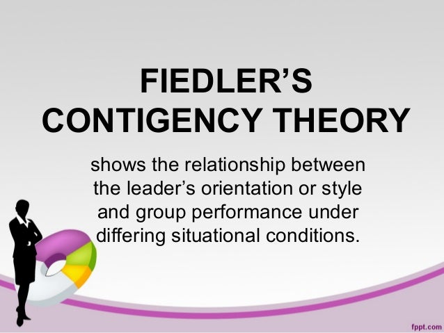 FIEDLER'S CONTIGENCY THEORY shows the relationship between the leader's orientation or style and group performance under d...