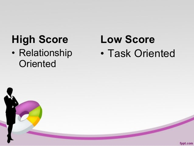 High Score • Relationship Oriented  Low Score • Task Oriented