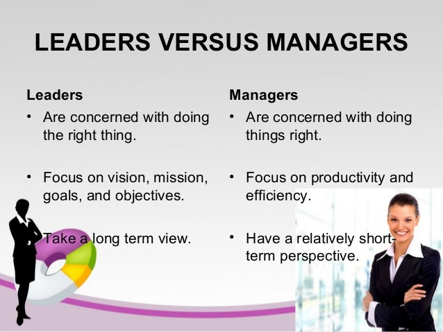 LEADERS VERSUS MANAGERS Leaders • Are concerned with doing the right thing.  Managers • Are concerned with doing things ri...