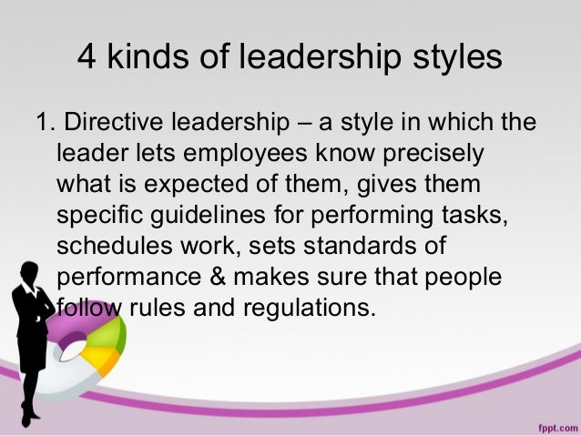 4 kinds of leadership styles 1. Directive leadership – a style in which the leader lets employees know precisely what is e...