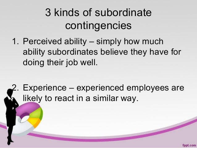3 kinds of subordinate contingencies 1. Perceived ability – simply how much ability subordinates believe they have for doi...