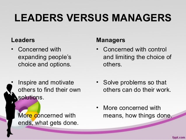 LEADERS VERSUS MANAGERS Leaders • Concerned with expanding people's choice and options.  Managers • Concerned with control...