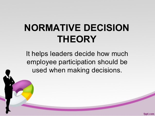 NORMATIVE DECISION THEORY It helps leaders decide how much employee participation should be used when making decisions.