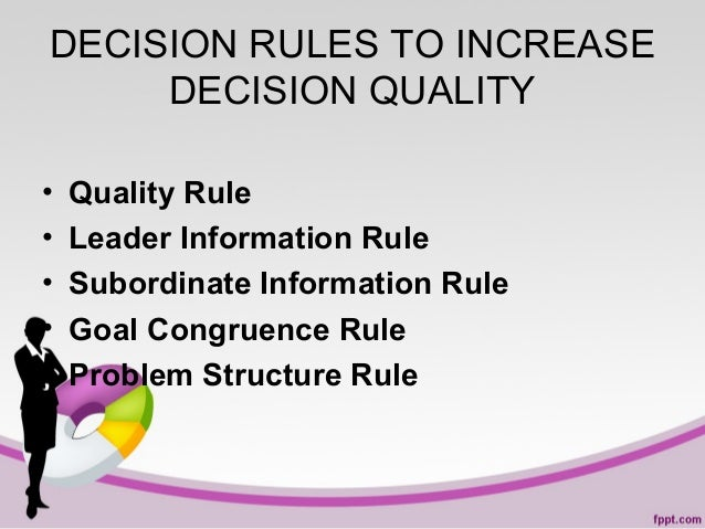 DECISION RULES TO INCREASE DECISION QUALITY • • • • •  Quality Rule Leader Information Rule Subordinate Information Rule G...