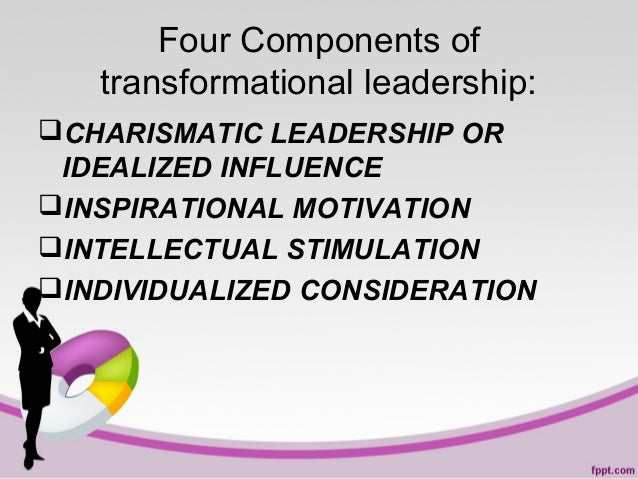 Four Components of transformational leadership: CHARISMATIC LEADERSHIP OR IDEALIZED INFLUENCE INSPIRATIONAL MOTIVATION ...