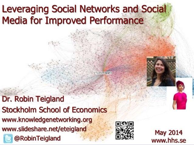 Leveraging Social Networks and Social Media for Improved Performance Dr. Robin Teigland Stockholm School of Economics www....