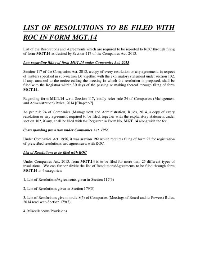 LIST OF RESOLUTIONS TO BE FILED WITH ROC IN FORM MGT.14 List of the Resolutions and Agreements which are required to be re...