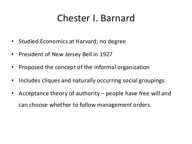 chester barnard economy incentives Chester irving barnard (1886 - 1961) was an american business executive, public administrator, and the author of pioneering work in management theory and organizational studies his landmark 1938 book, functions of the executive , sets out a theory of organization and of the functions of executives in organizations.