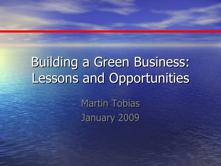 Building a Green Business: Lessons and Opportunities Martin Tobias January 2009