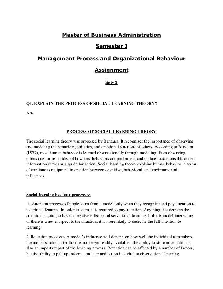 Mba management process and organisation behaviour