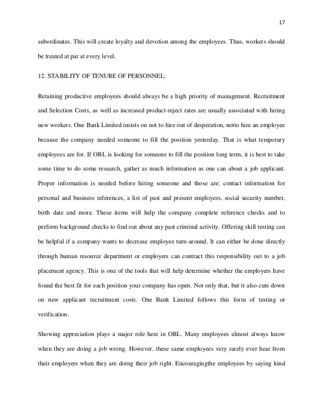 Report On One Bank Implication Of Fayol S Fourteen Principle