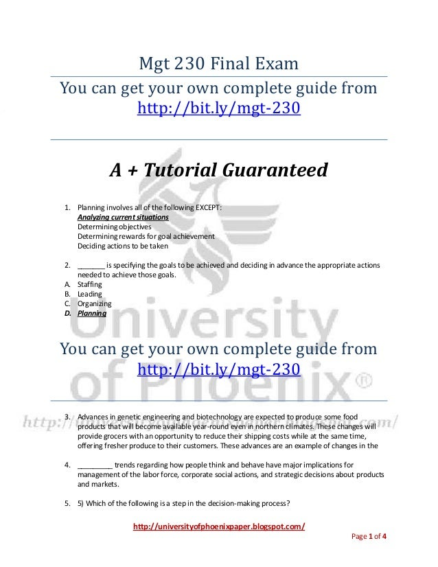 http://universityofphoenixpaper.blogspot.com/ Page 1 of 4 Mgt 230 Final Exam You can get your own complete guide from http...