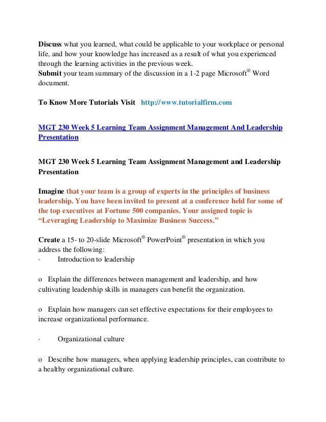 mgt 230 week 5 management and leadership powerpoint Read mgt 230 week 3 individual management planning presentation from the story mgt 230 complete class by scootlee with 34 reads mgt230free, mgt230, mgt230week.