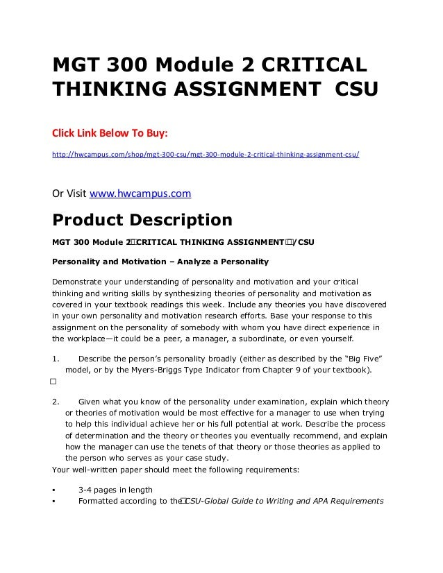 critical thinking assignment 2 Answer to critical thinking assignment # 2 (50 points) instructions: in this second assignment, you will further explore the data.