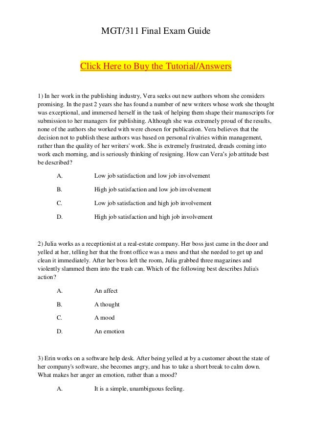 MGT/311 Final Exam Guide                 Click Here to Buy the Tutorial/Answers1) In her work in the publishing industry, ...