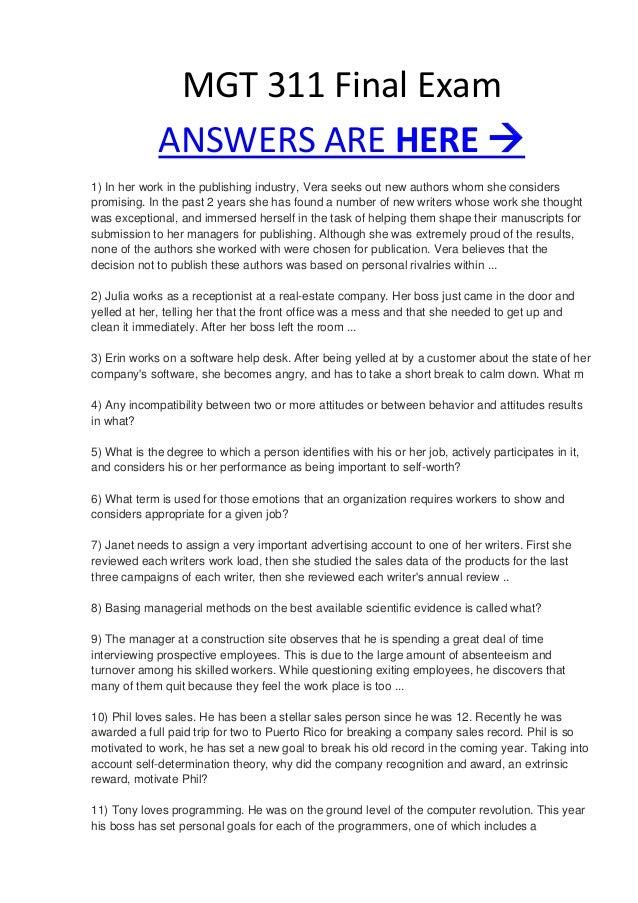 MGT 311 Week 5 Final Exam Answers