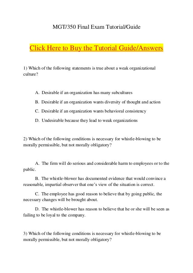 Mgt 350 final exam guide 24) In an example of a conflict ...