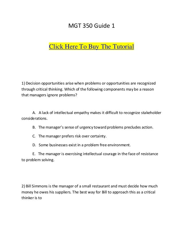 mgt 350 guide 1 click here to buy the tutorial1 decision opportunities arise when problems