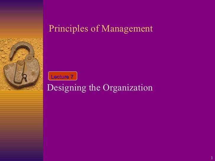 Principles of Management Designing the Organization Lecture 7